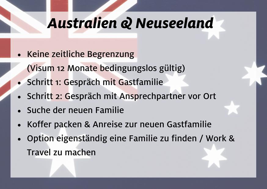 Au pair Rematch Facts - Australien und Neuseeland