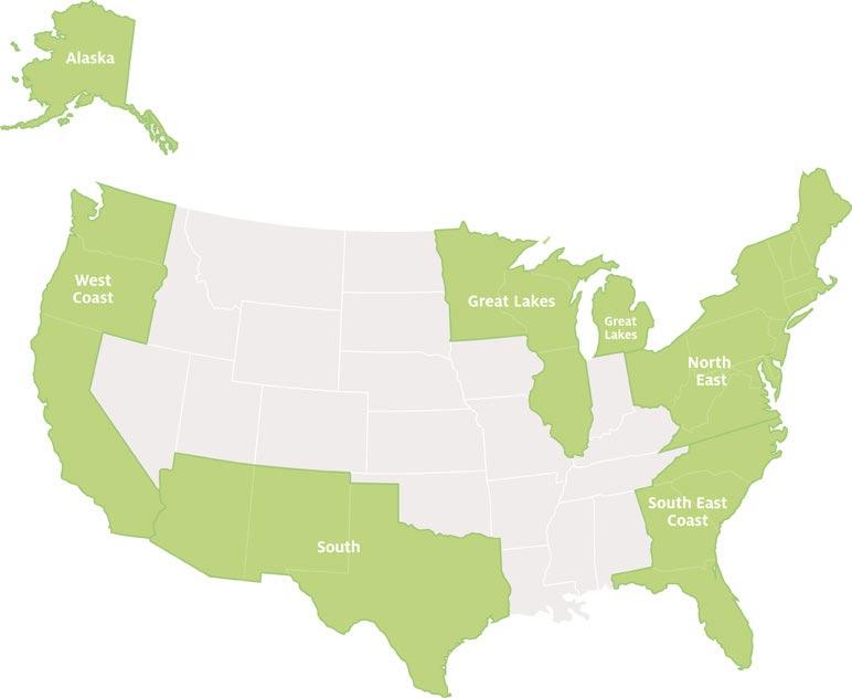 Schüleraustausch USA, Regionswahl, Regionen