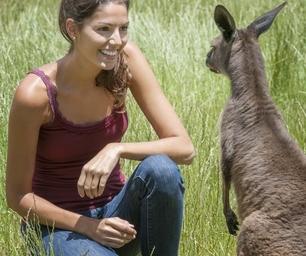 Farmstay Australien, Frau, Wiese, Känguru
