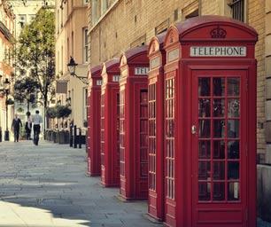 Schueleraustausch England, Telefonzelle, rot