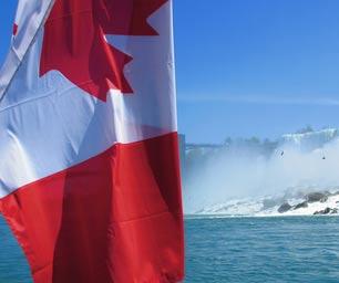 Schüleraustausch Kanada, Flagge, Niagara, Wasserfall