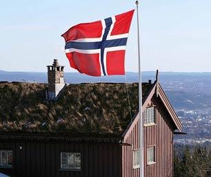 Schüleraustausch Norwegen, Flagge, Haus, Ausblick