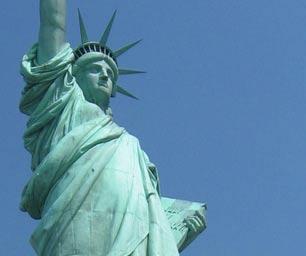 Schüleraustausch USA, New York, Freiheitsstatue, blau