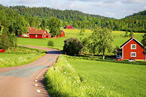 schueleraustausch-schweden-rote-haeuser-landschaft