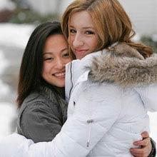 Schüleraustausch Japan, Freundinnen, Schnee