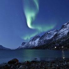 Schueleraustausch, Schweden, Bergsee, Polarlichter, Nacht
