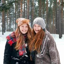 Schüleraustausch Schweden, Freundinnen, Schnee