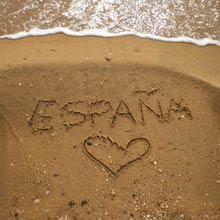 Schüleraustausch Spanien, Strand, Herz, Schrift