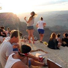 Schueleraustausch, USA, Gruppe, Canyon, Sonne