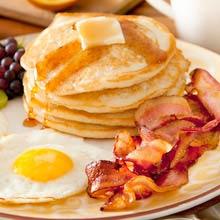 USA Frühstück, Pancakes, Bacon, Eggs