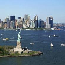 Praktikum USA, NYC, Freiheitsstatue, Skyline